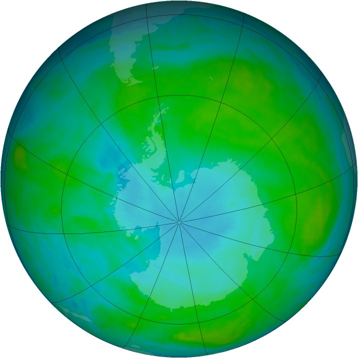 Antarctic ozone map for 27 January 1988