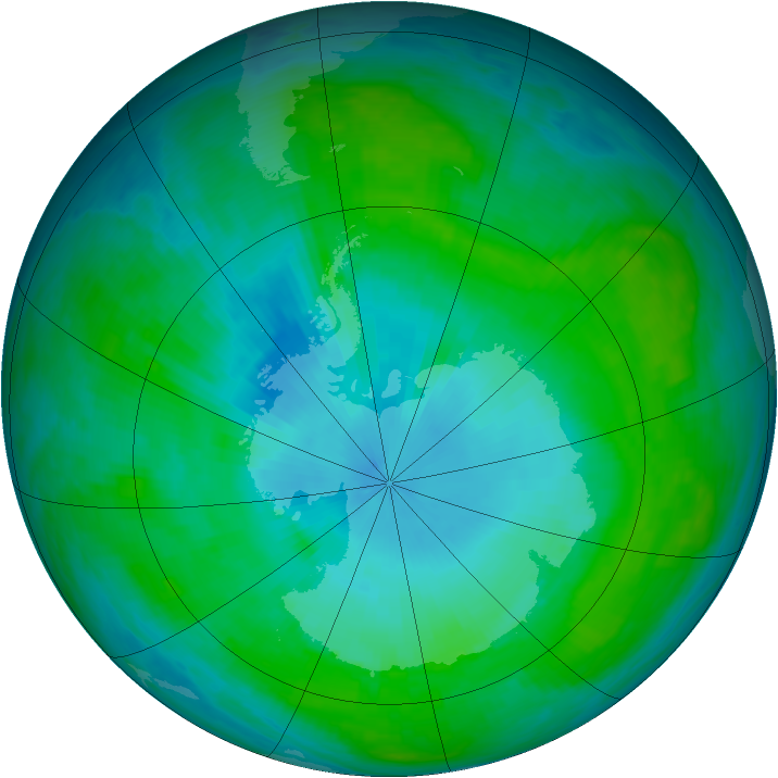Antarctic ozone map for 29 January 1988