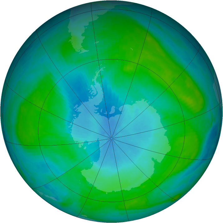 Antarctic ozone map for 01 February 1988