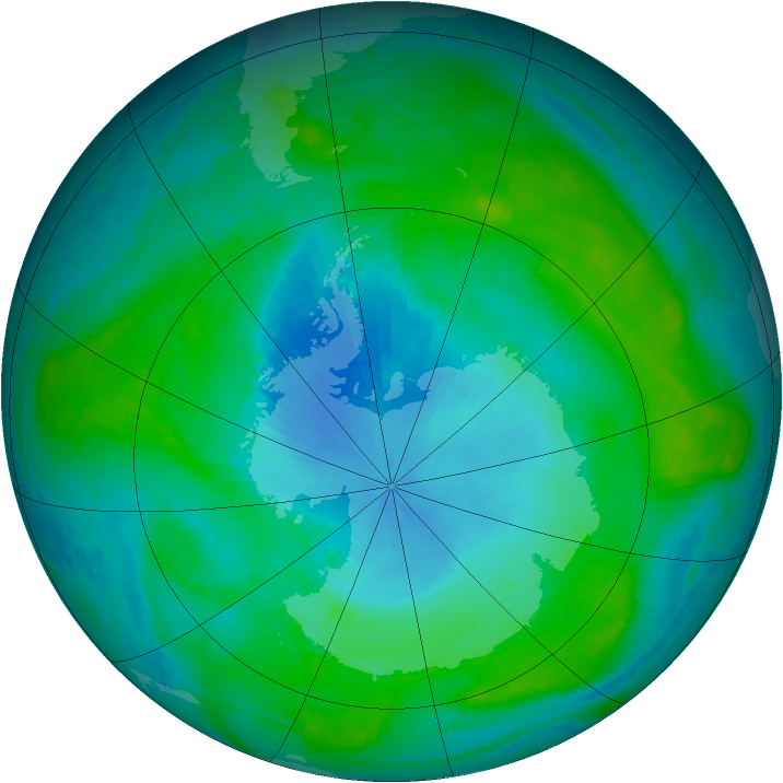 Antarctic ozone map for 02 February 1988