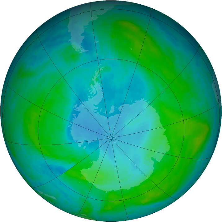 Antarctic ozone map for 07 February 1988