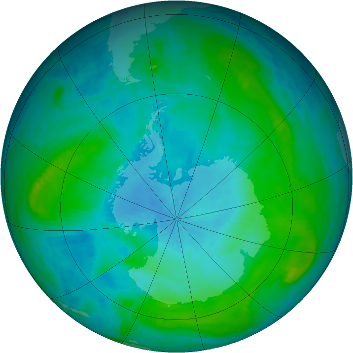 Antarctic ozone map for 08 February 1988