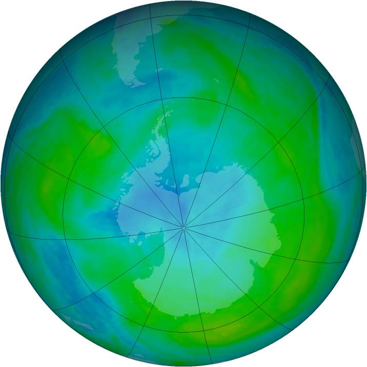 Antarctic ozone map for 10 February 1988