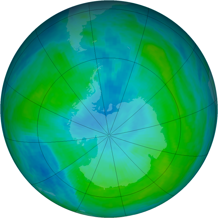 Antarctic ozone map for 12 February 1988