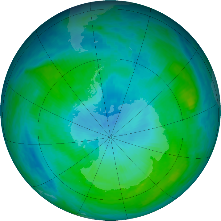 Antarctic ozone map for 14 February 1988