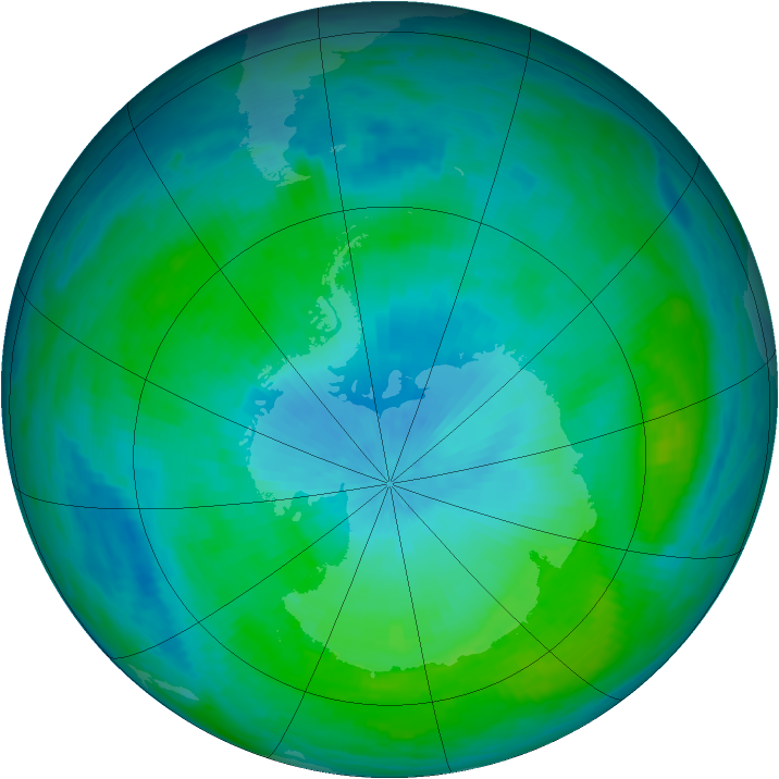 Antarctic ozone map for 15 February 1988