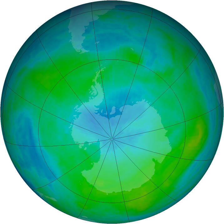 Antarctic ozone map for 16 February 1988