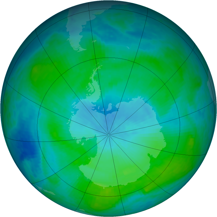 Antarctic ozone map for 18 February 1988