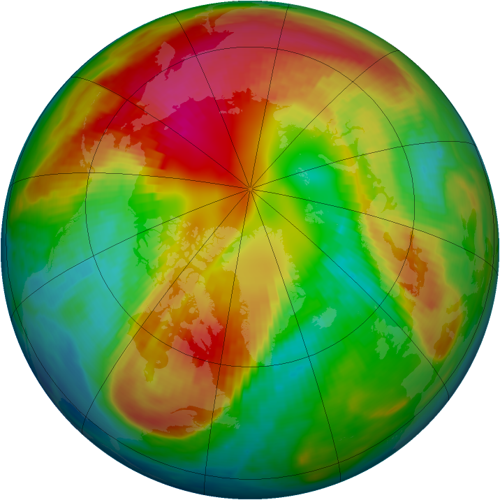 Arctic ozone map for 25 February 1988