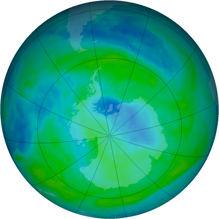 Antarctic ozone map for 26 February 1988