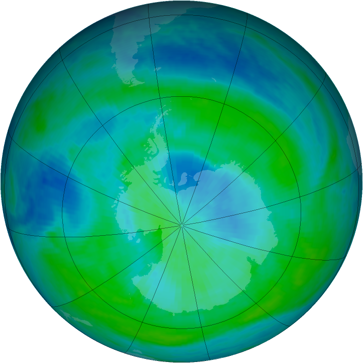 Antarctic ozone map for 27 February 1988