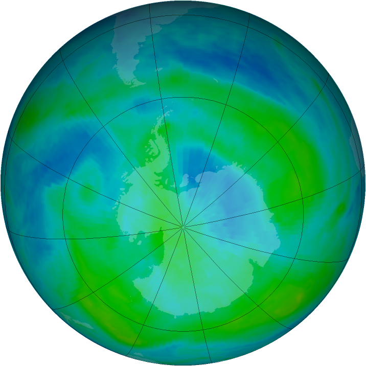 Antarctic ozone map for 28 February 1988