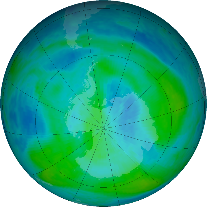 Antarctic ozone map for 29 February 1988