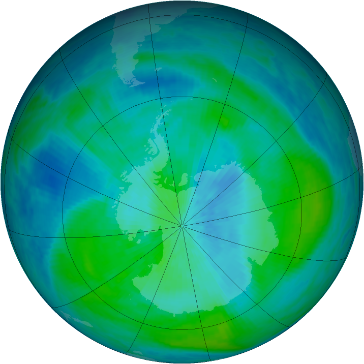 Antarctic ozone map for 01 March 1988