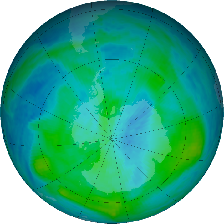 Antarctic ozone map for 02 March 1988