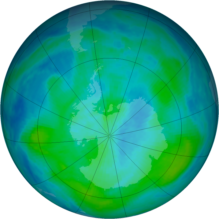 Antarctic ozone map for 03 March 1988