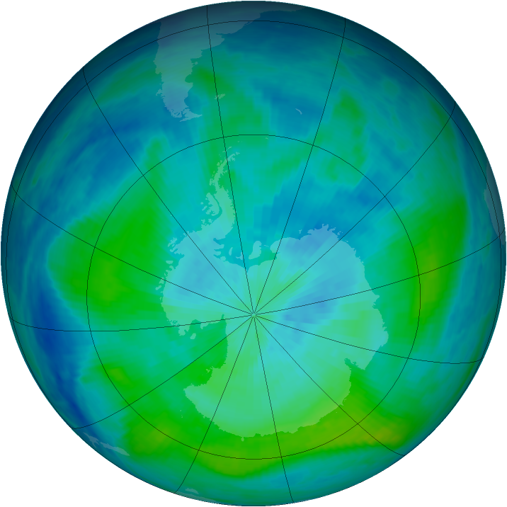 Antarctic ozone map for 05 March 1988