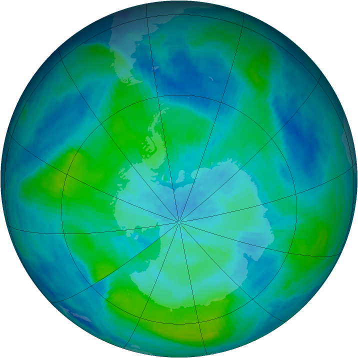 Antarctic ozone map for 09 March 1988