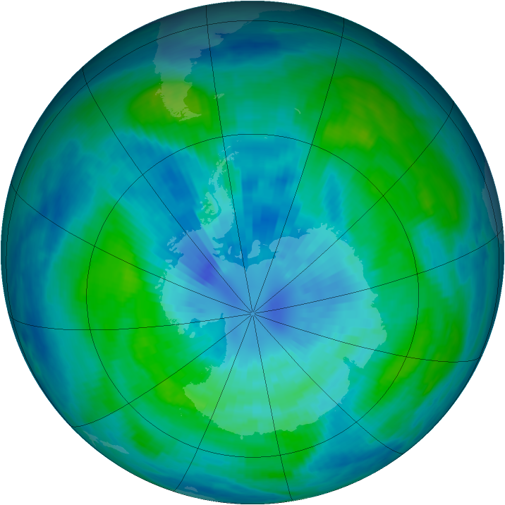 Antarctic ozone map for 25 March 1988