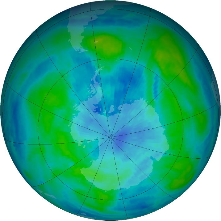 Antarctic ozone map for 26 March 1988
