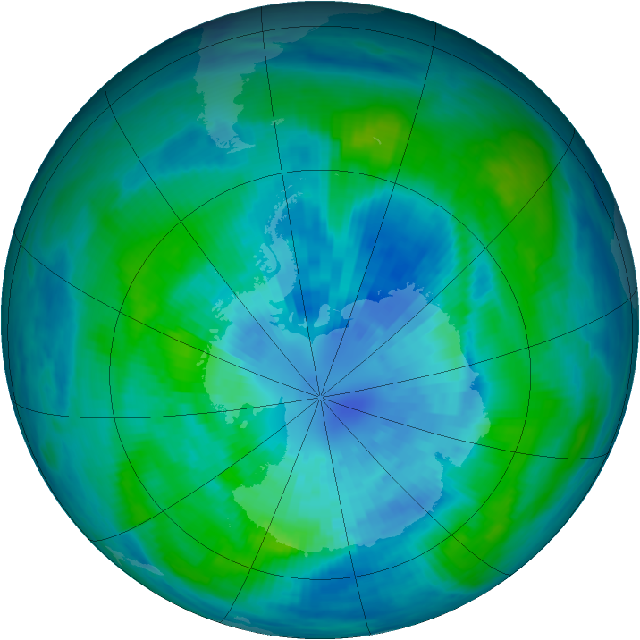 Antarctic ozone map for 27 March 1988