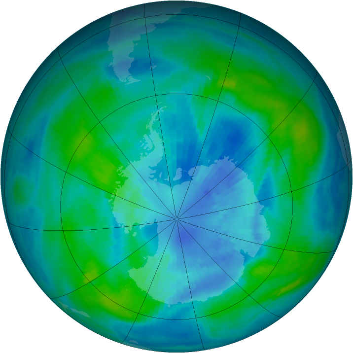 Antarctic ozone map for 28 March 1988
