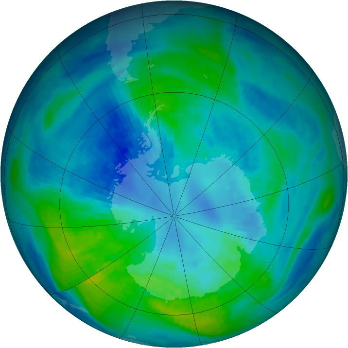 Antarctic ozone map for 09 April 1988