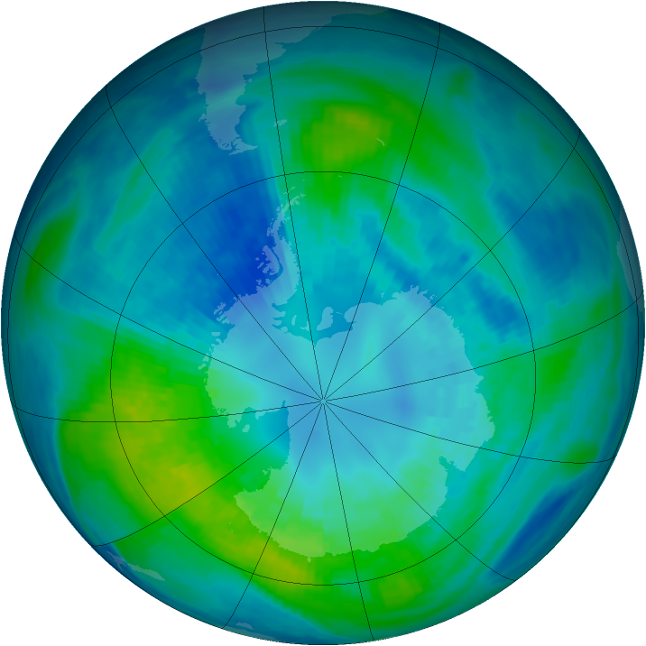 Antarctic ozone map for 10 April 1988