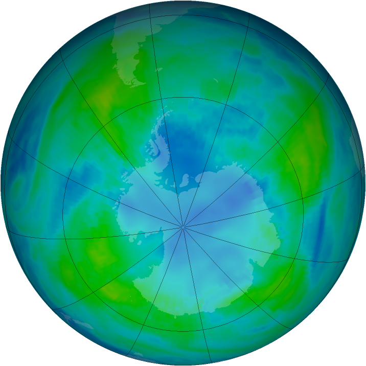 Antarctic ozone map for 18 April 1988
