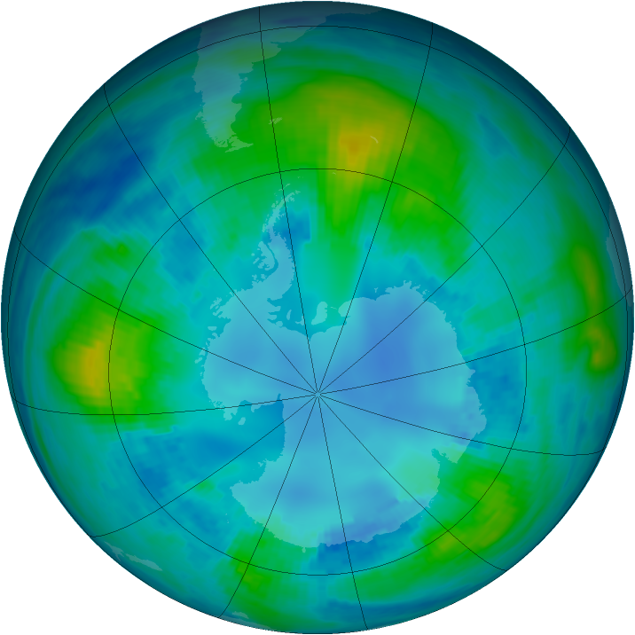 Antarctic ozone map for 26 April 1988