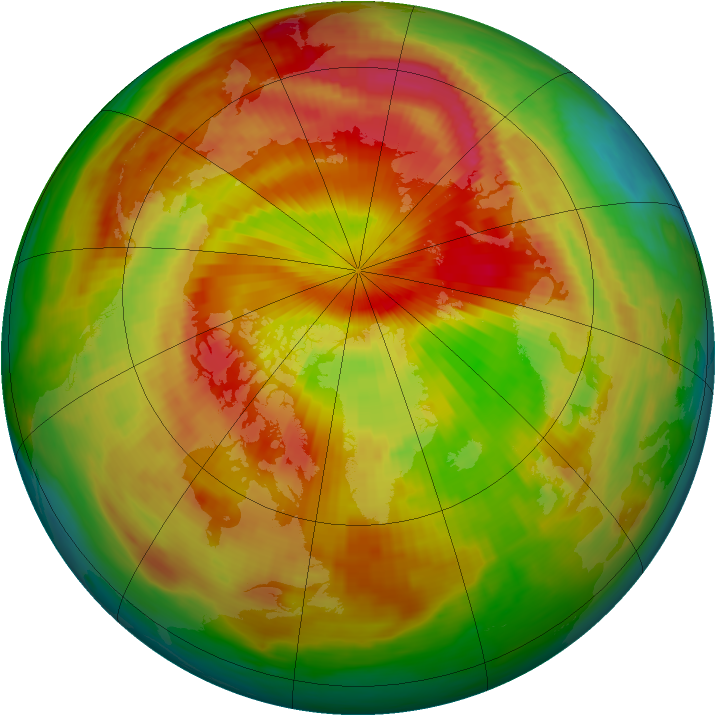 Arctic ozone map for 27 April 1988