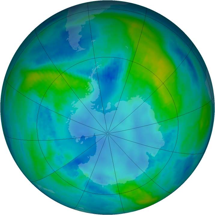 Antarctic ozone map for 28 April 1988