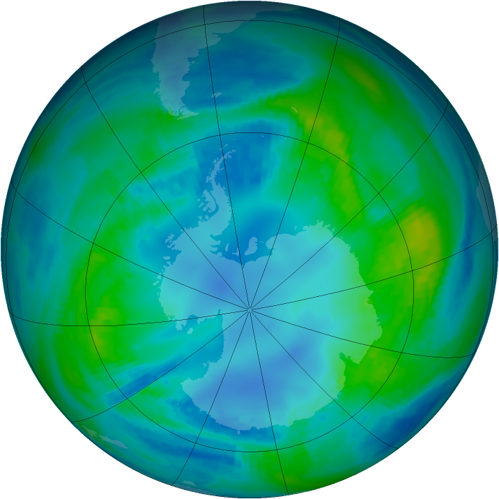 Antarctic ozone map for 30 April 1988