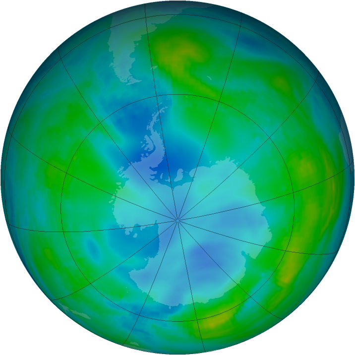 Antarctic ozone map for 24 May 1988
