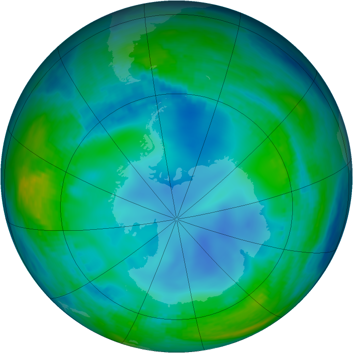 Antarctic ozone map for 28 May 1988