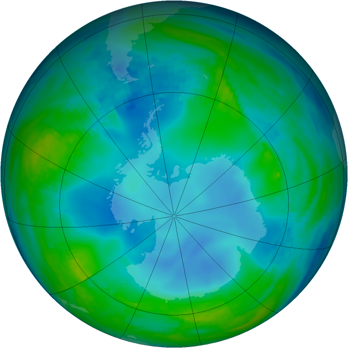 Antarctic ozone map for 30 May 1988