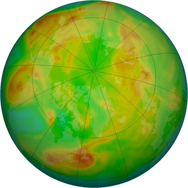 Arctic ozone map for 03 June 1988