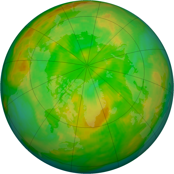 Arctic ozone map for 19 June 1988