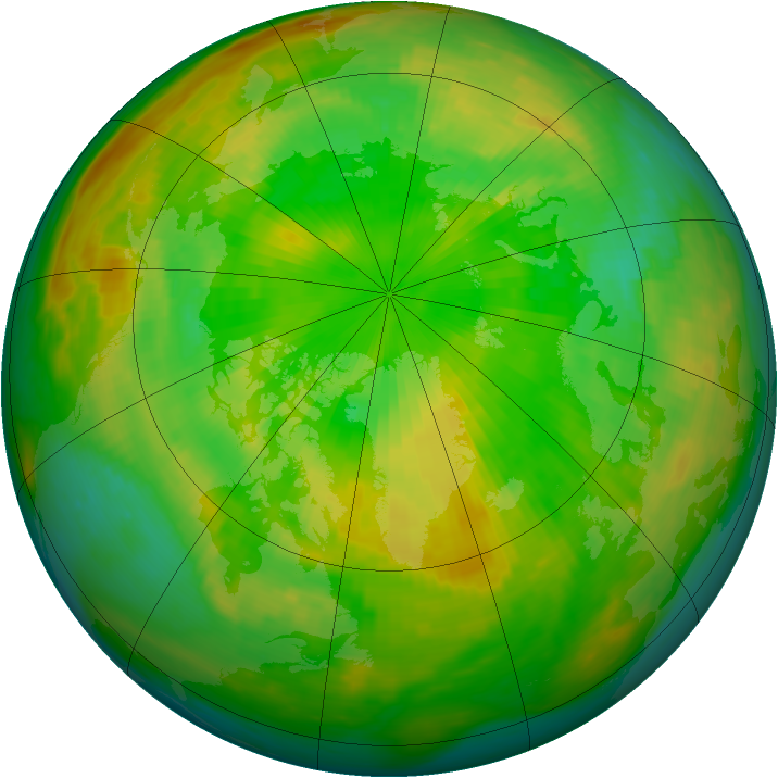 Arctic ozone map for 20 June 1988