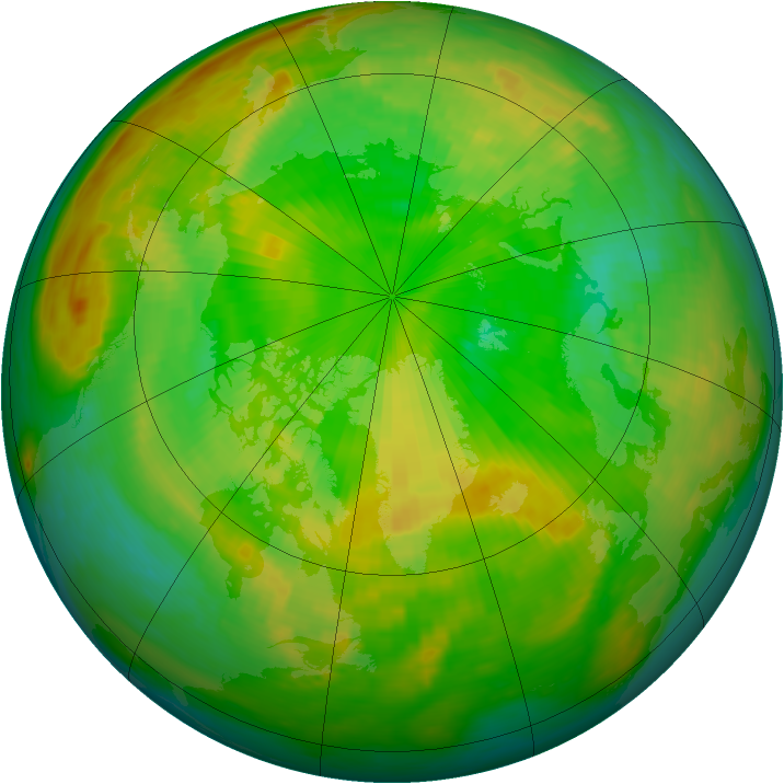 Arctic ozone map for 21 June 1988