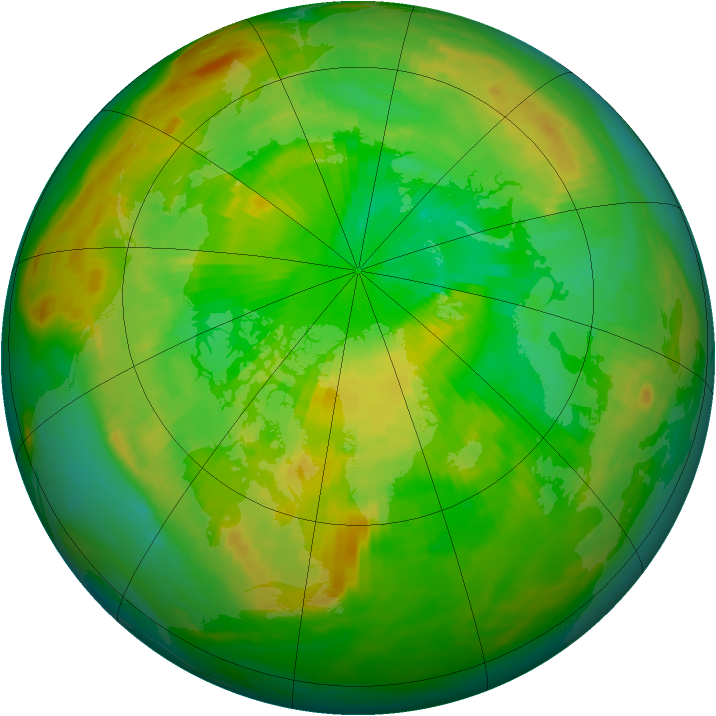 Arctic ozone map for 24 June 1988