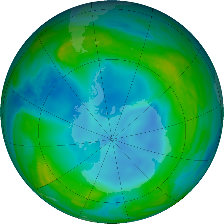 Antarctic ozone map for 02 July 1988