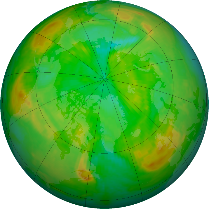 Arctic ozone map for 03 July 1988