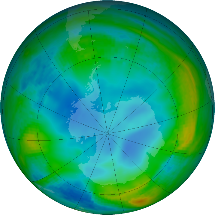 Antarctic ozone map for 06 July 1988