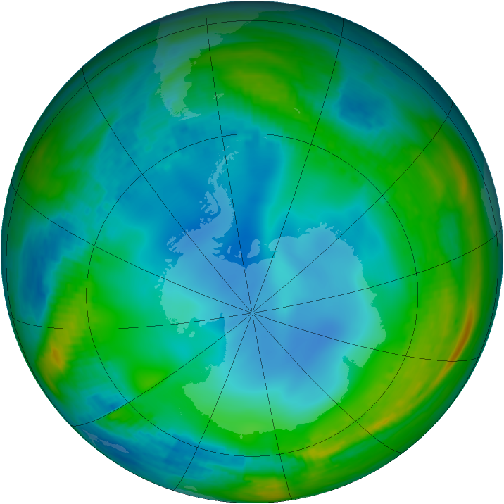 Antarctic ozone map for 08 July 1988