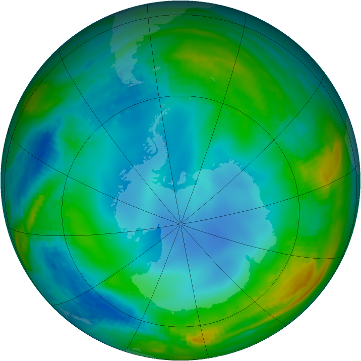 Antarctic ozone map for 09 July 1988