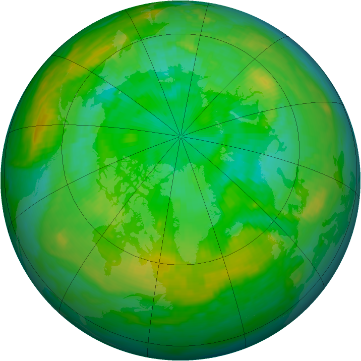 Arctic ozone map for 19 July 1988
