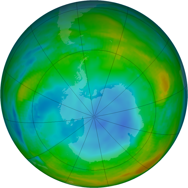 Antarctic ozone map for 20 July 1988