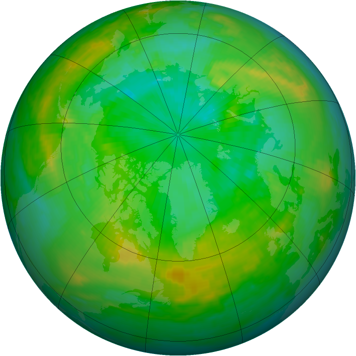Arctic ozone map for 21 July 1988