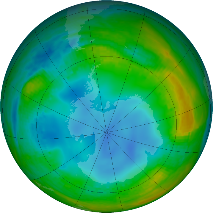 Antarctic ozone map for 21 July 1988